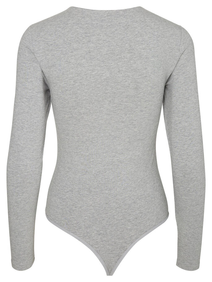 PITKÄHIHAINEN BODY, Light Grey Melange, large