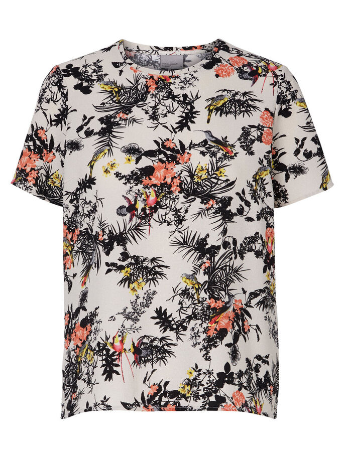 PRINTED SHORT SLEEVED TOP, Antique White, large