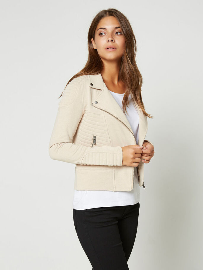 BIKER- SWEATJACKE, Warm Sand, large