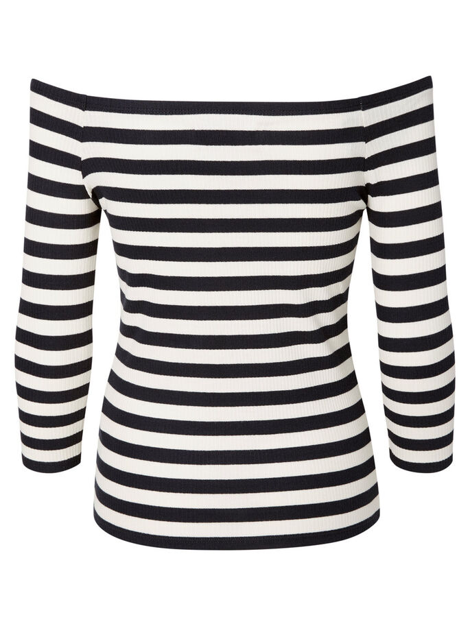 STRIBET TOP MED 3/4-ÆRMER, Black, large
