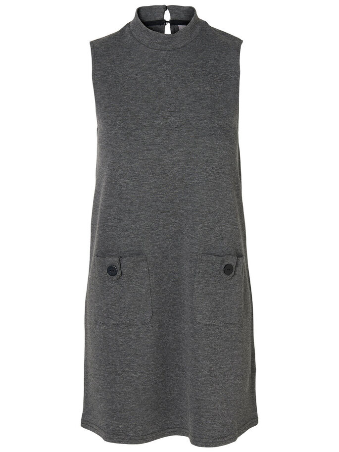 SIXTIES SLEEVELESS DRESS, Medium Grey Melange, large