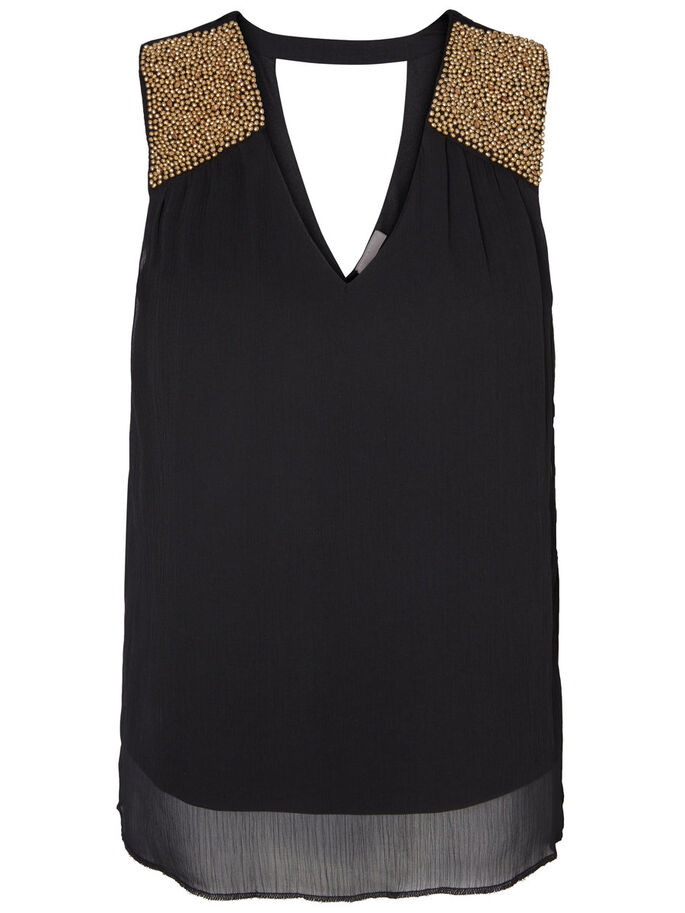 SEQUINED SLEEVELESS TOP, Black, large