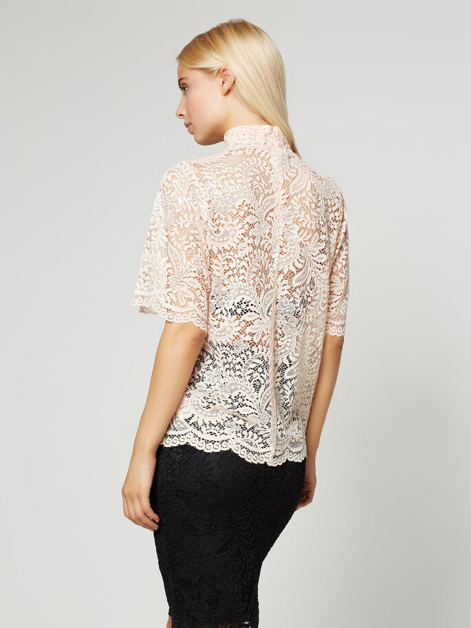 LACE 2/4 SLEEVED BLOUSE, Cream Tan, large