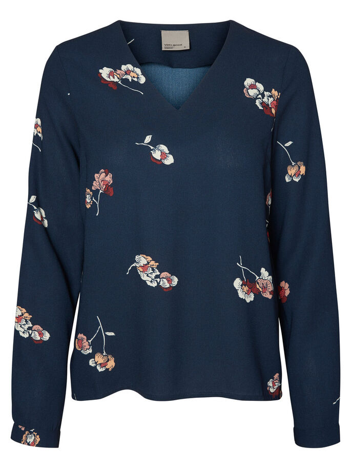 FLOWER LONG SLEEVED BLOUSE, Total Eclipse, large