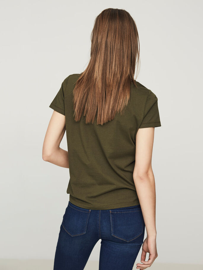 CASUAL TOP MET KORTE MOUWEN, Ivy Green, large