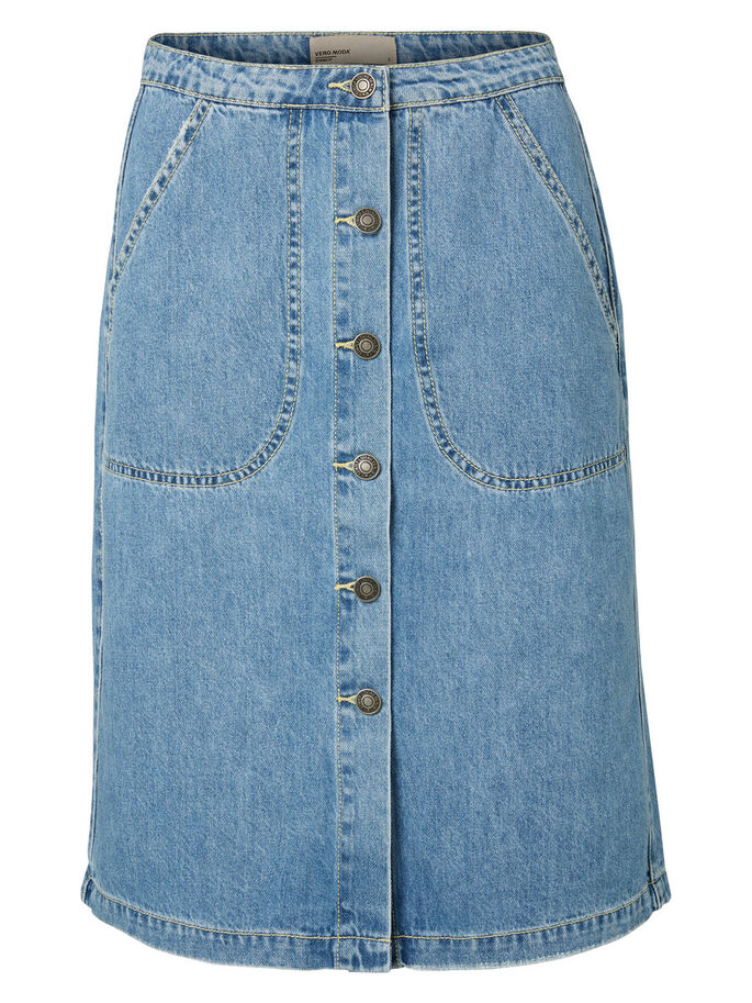 HIGH-WAIST DENIM SKIRT, Light Blue Denim, large