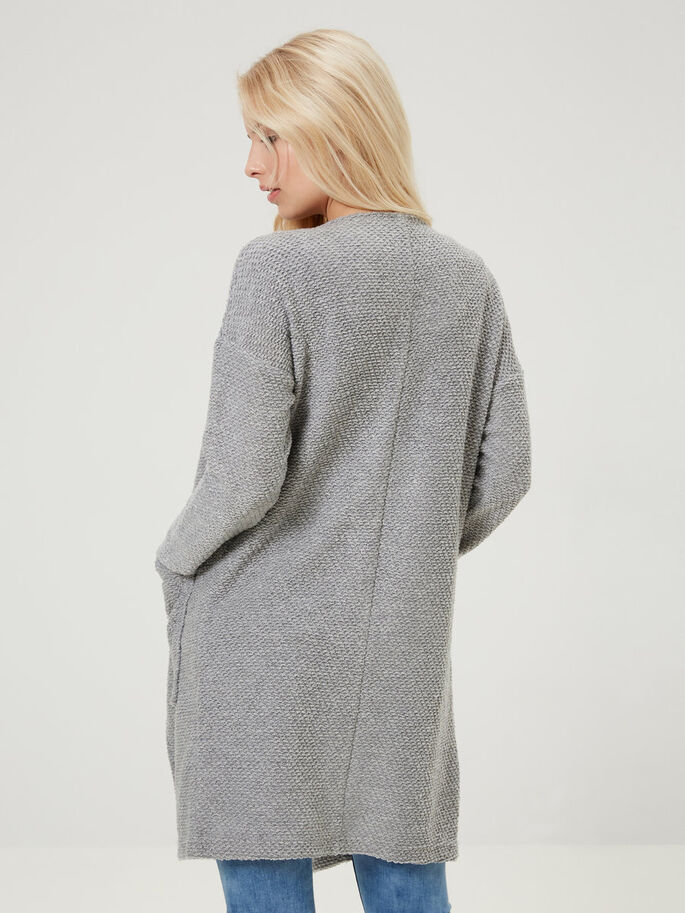LONG KNITTED CARDIGAN, Light Grey Melange, large