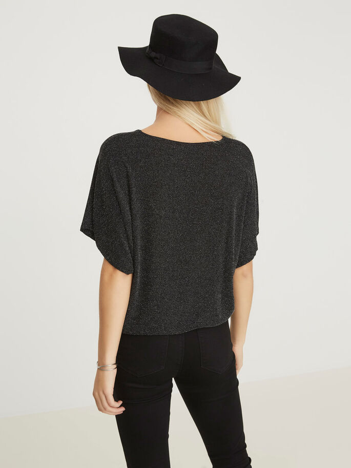 FEMININE 2/4 SLEEVED BLOUSE, Black, large