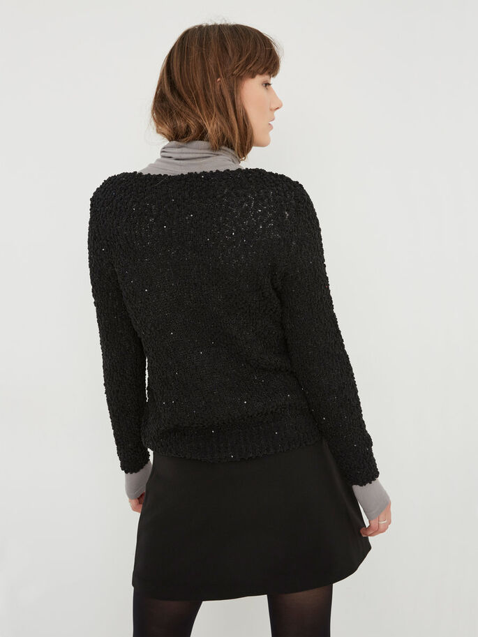 SEQUINED KNITTED PULLOVER, Black, large