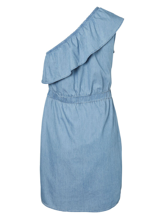 ONE-SHOULDER- KLEID, Light Blue Denim, large
