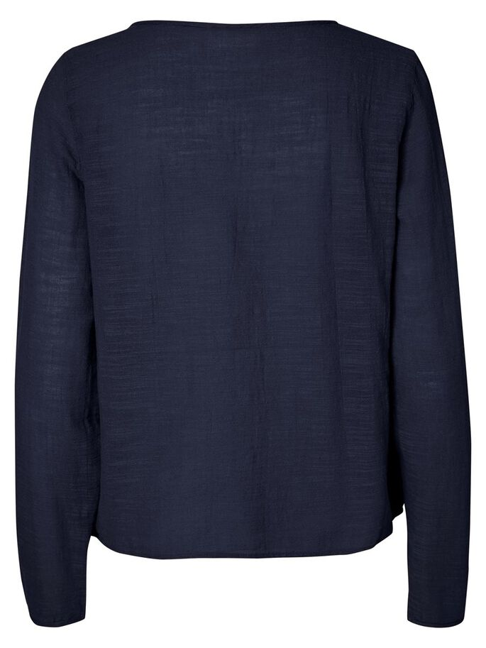 FEMININE LONG SLEEVED TOP, Navy Blazer, large