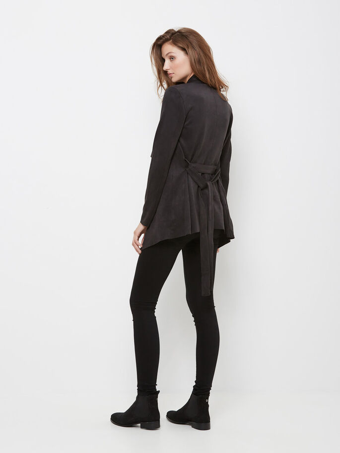 FAUX SUEDE JACKET, Black, large
