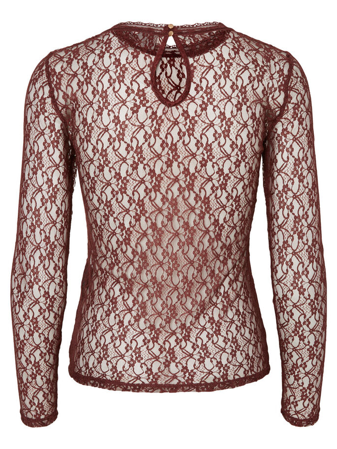 LACE LONG SLEEVED BLOUSE, Decadent Chocolate, large