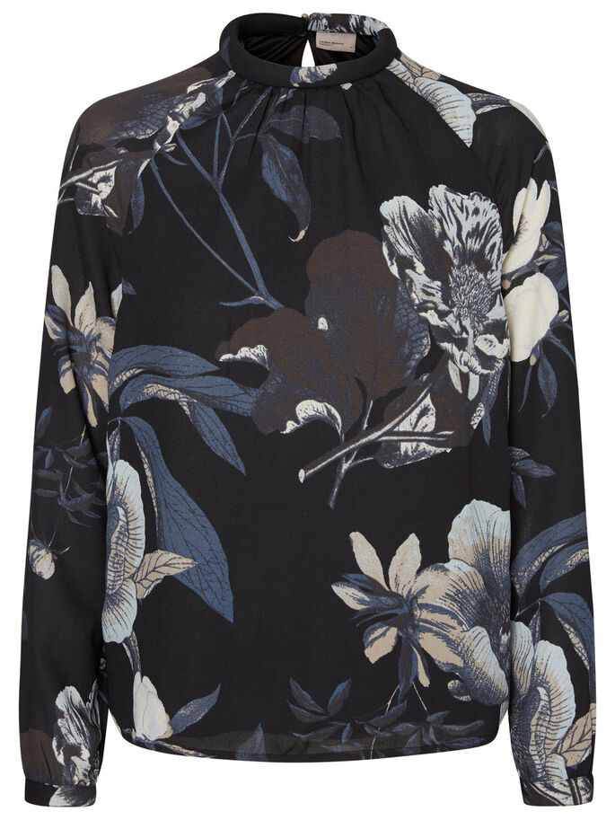 BLOEMENPRINT TOP MET LANGE MOUWEN, Black, large