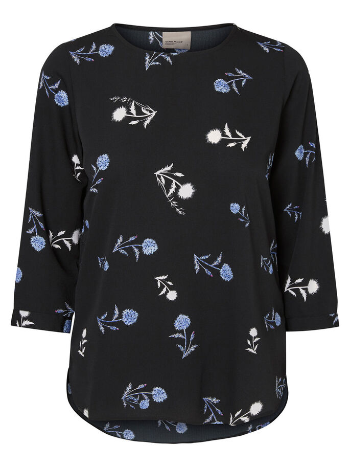 PRINTED LONG SLEEVED BLOUSE, Black, large