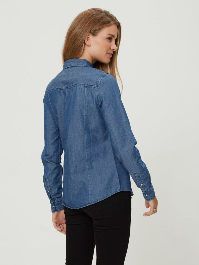 DENIM OVERHEMD, Medium Blue Denim, large