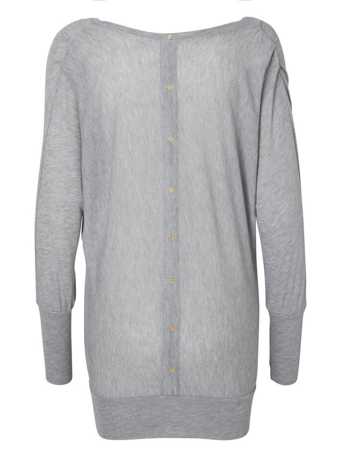 DETALJERET TOP MED LANGE ÆRMER, Light Grey Melange, large