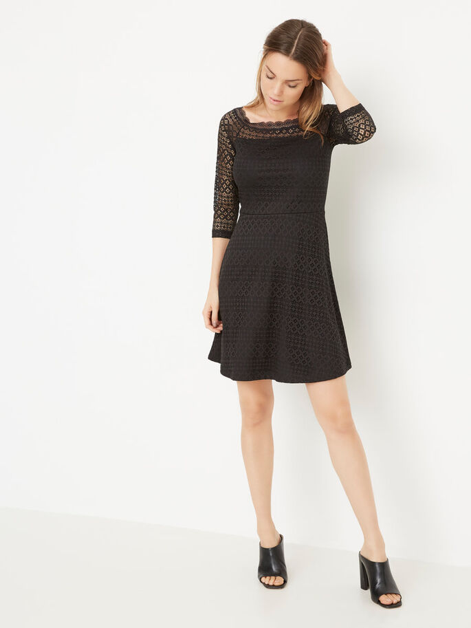 LACE OFF SHOULDER SHORT DRESS, Black, large