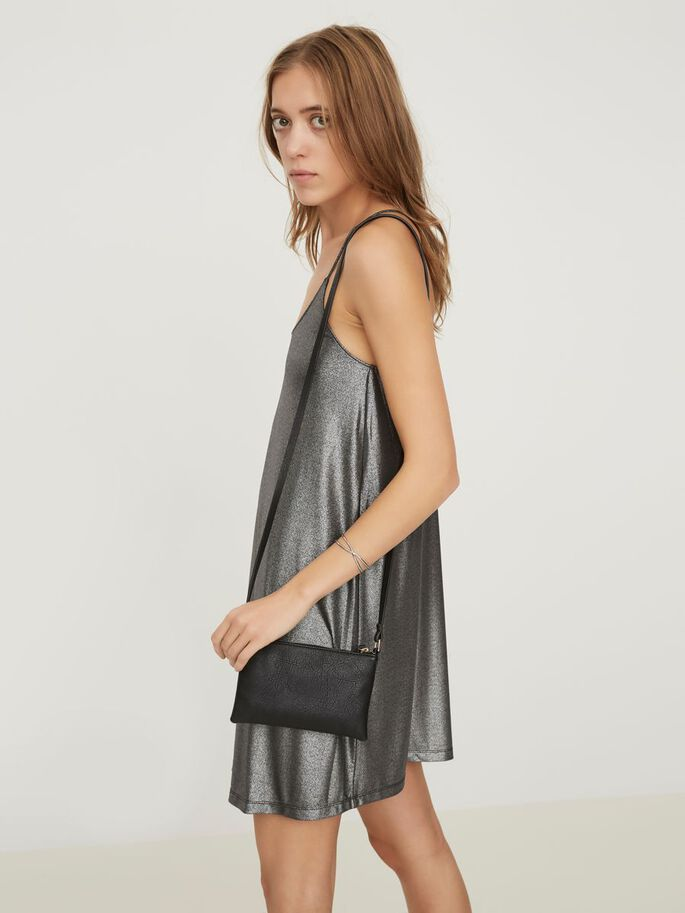 SILVER SLEEVELESS DRESS, Black, large