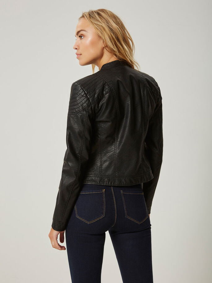 SHORT IMITATION LEATHER JACKET, Black, large