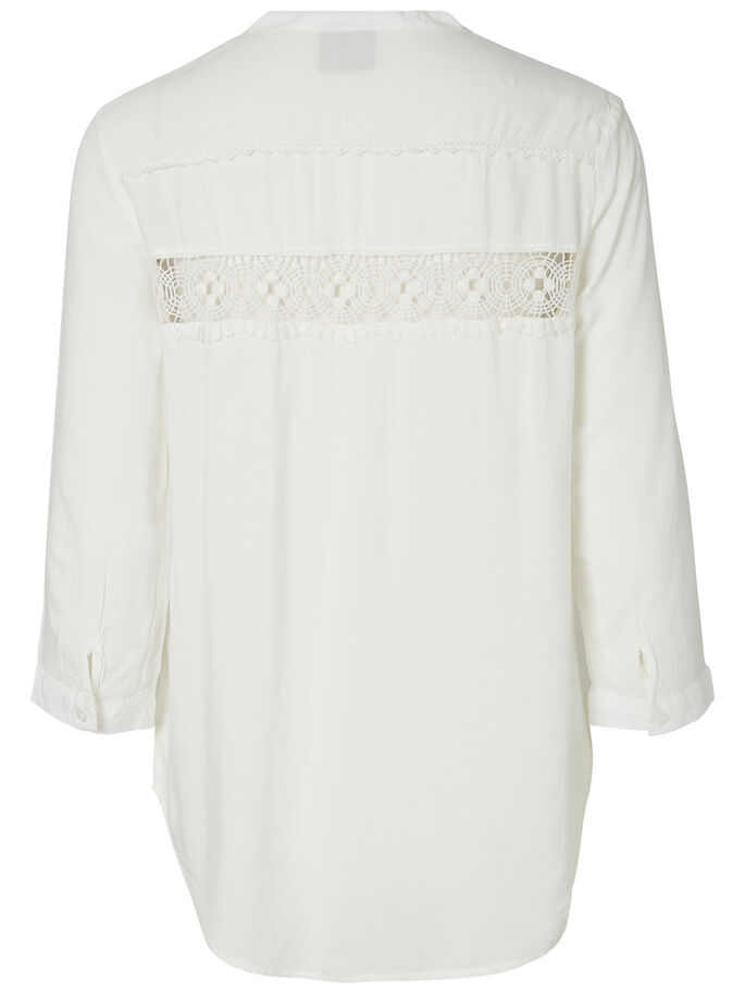 LACED 3/4 SLEEVED BLOUSE, Snow White, large