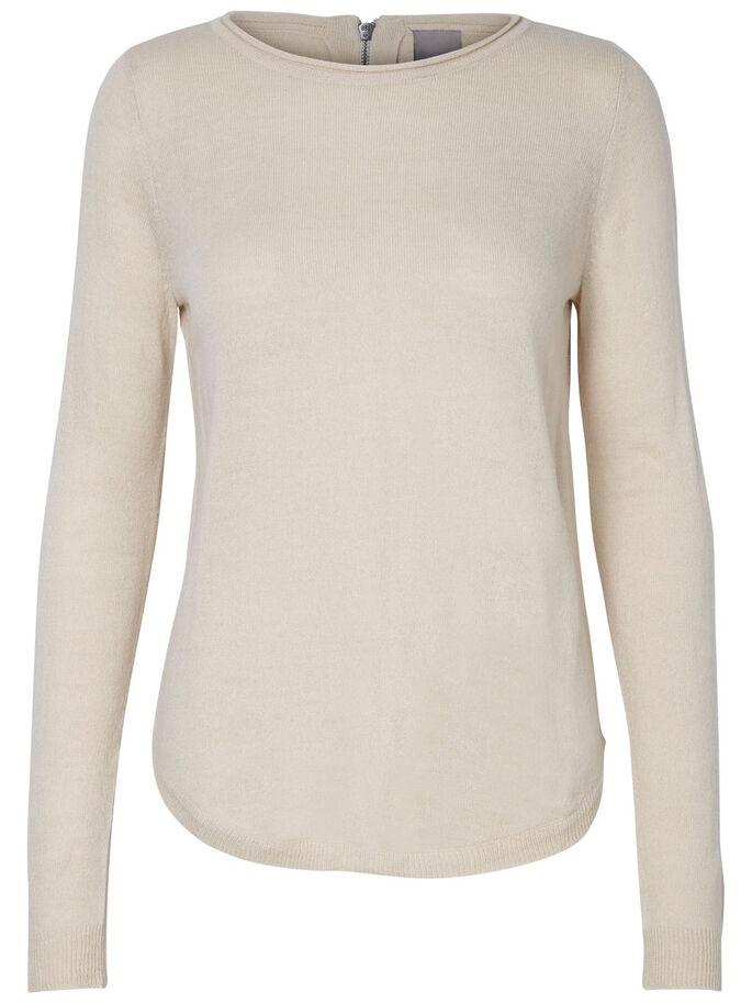LONG SLEEVED KNITTED PULLOVER, Oatmeal, large
