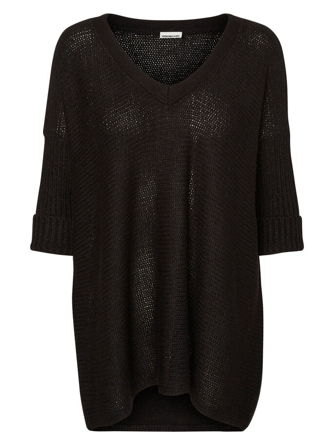 OVERSIZED KNITTED PULLOVER, Black, large