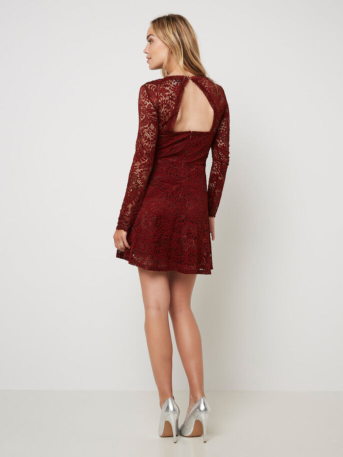 LACE SHORT DRESS, Fired Brick, large