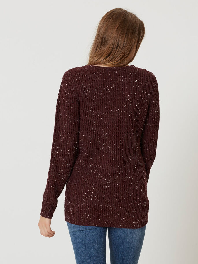 BUTTON KNITTED PULLOVER, Decadent Chocolate, large