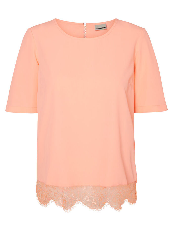 LACED 2/4 SLEEVED BLOUSE, Fiery Coral, large
