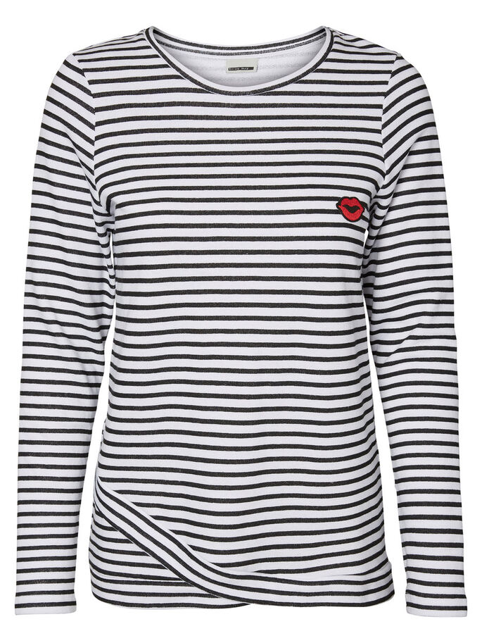 STRIPED LONG SLEEVED TOP, Bright White, large