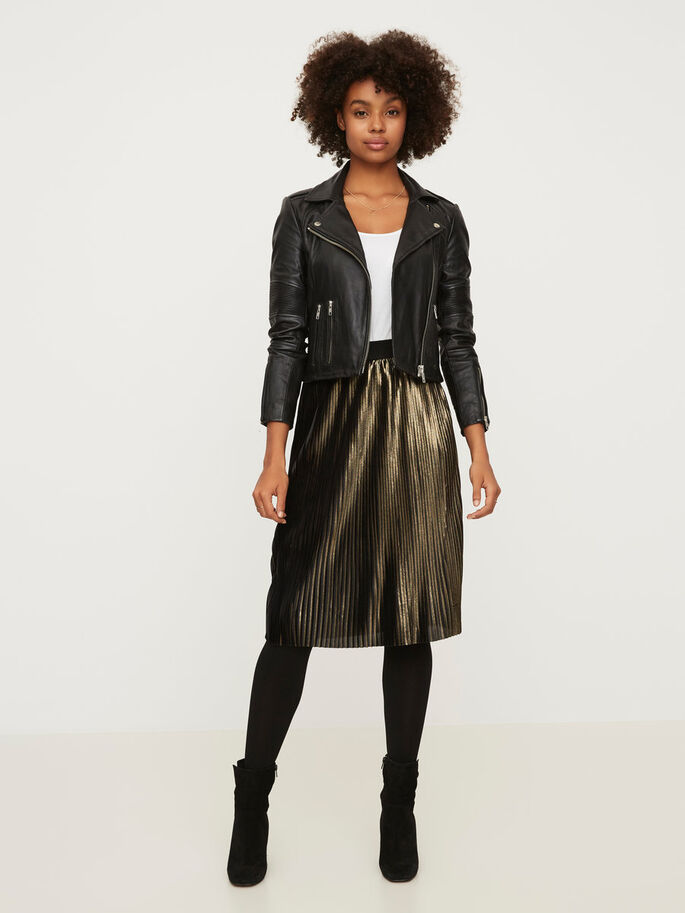 PLEATED NW SKIRT, Black, large