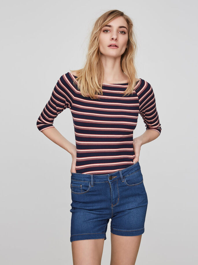 OFF-SHOULDER- BLUSE MIT 3/4 ÄRMELN, Navy Blazer, large