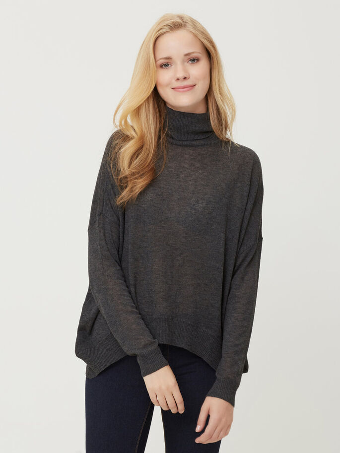 KNITTED PULLOVER, Dark Grey Melange, large