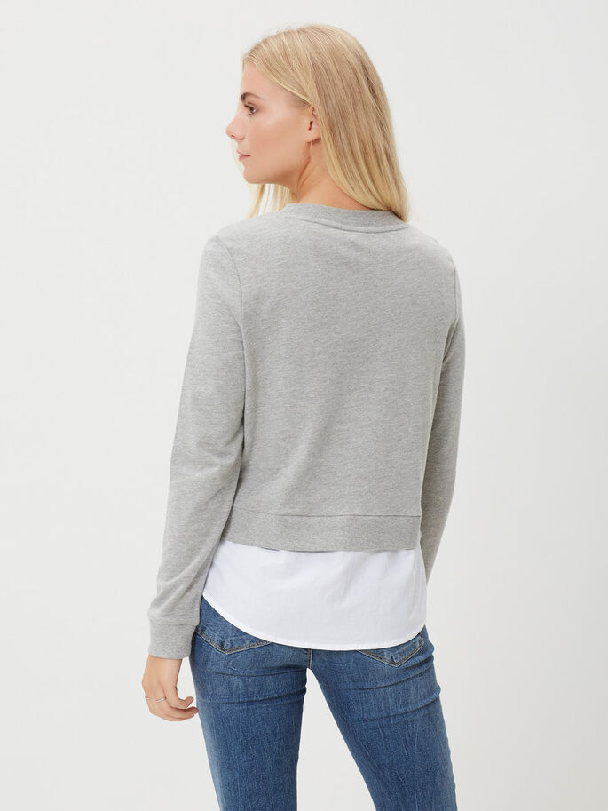 LONG SLEEVED BLOUSE, Light Grey Melange, large