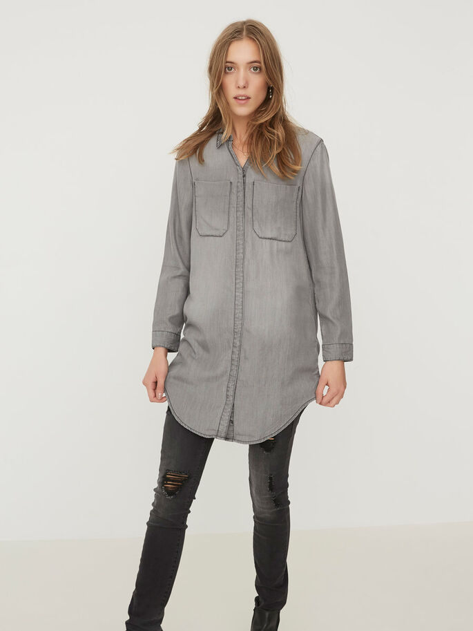LONG SHIRT, Medium Grey Denim, large