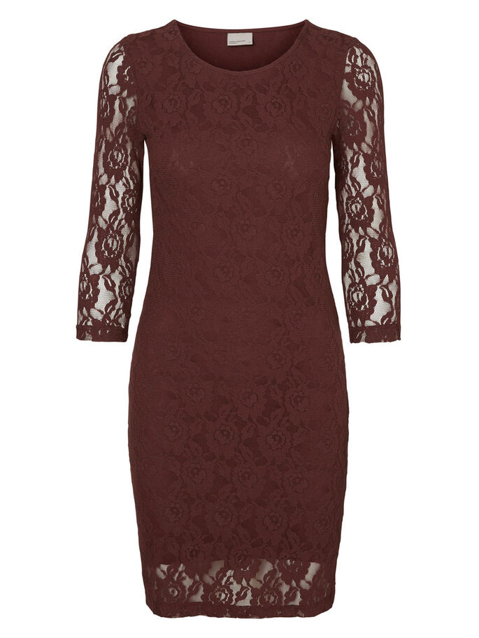 LACE 3/4 SLEEVED SHORT DRESS, Decadent Chocolate, large