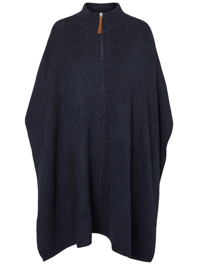 STICKAD PONCHO, Navy Blazer, large