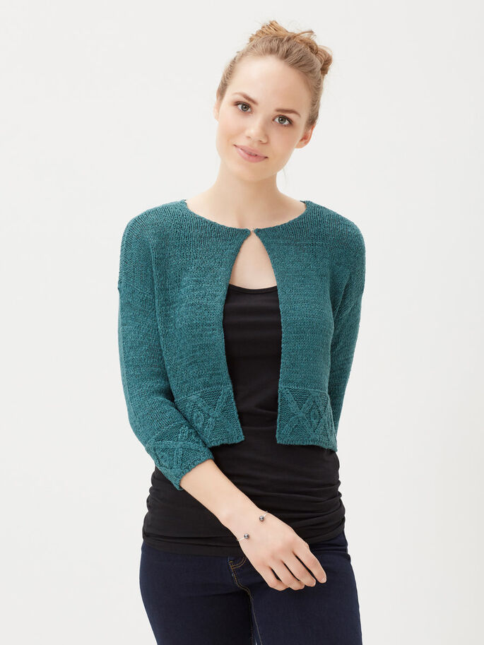 SHORT KNITTED CARDIGAN, Balsam, large