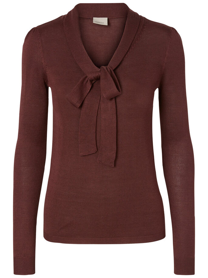 BOW LONG SLEEVED BLOUSE, Decadent Chocolate, large