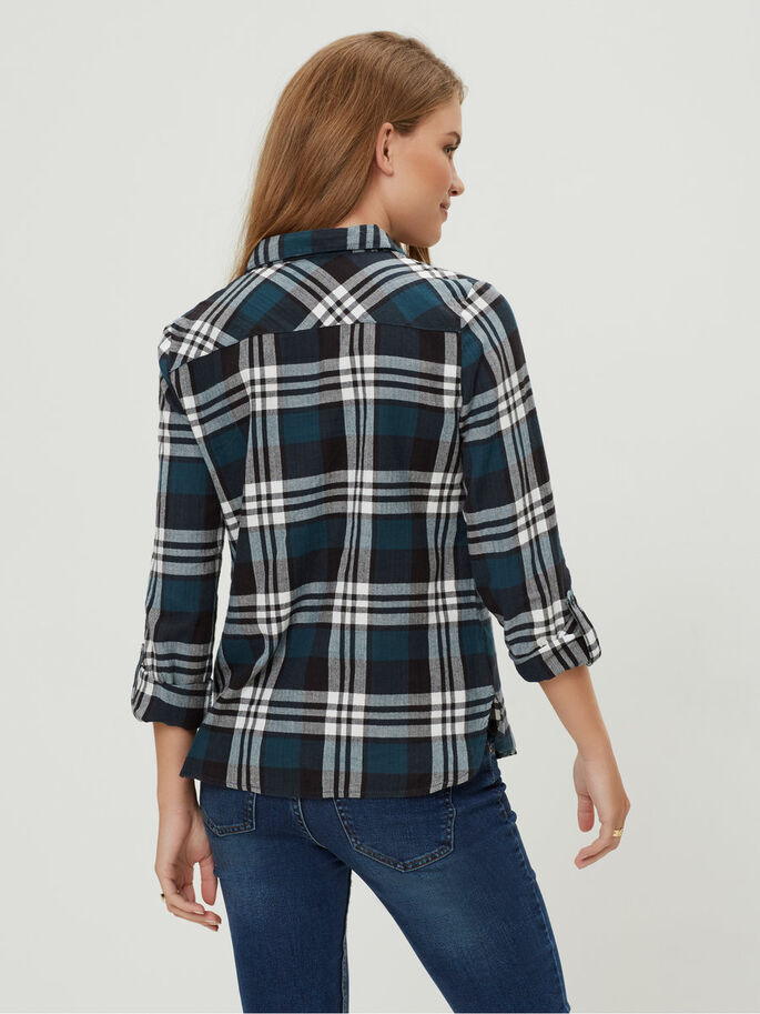 CHEQUERED LONG SLEEVED SHIRT, Reflecting Pond, large