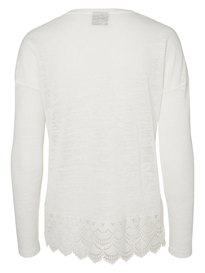 LACE LONG SLEEVED TOP, Snow White, large