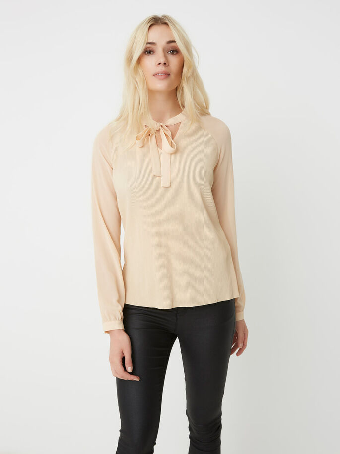 FEMININE LONG SLEEVED TOP, Ivory Cream, large