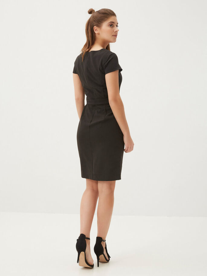TAILORED SHORT DRESS, Black, large