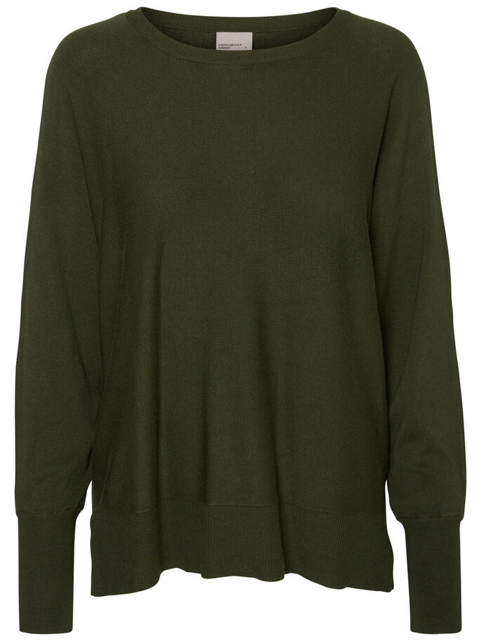 LONG SLEEVED KNITTED PULLOVER, Kombu Green, large