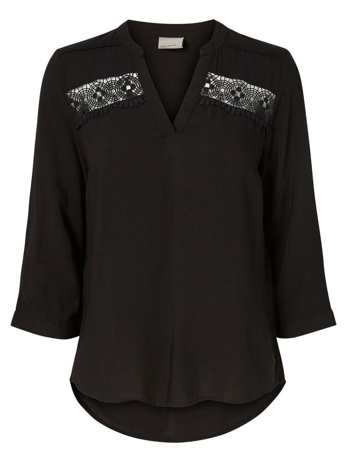LACED 3/4 SLEEVED BLOUSE, Black, large