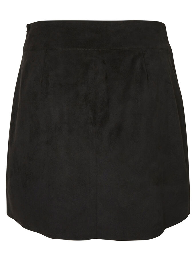 FAUX SUEDE SKIRT, Black, large