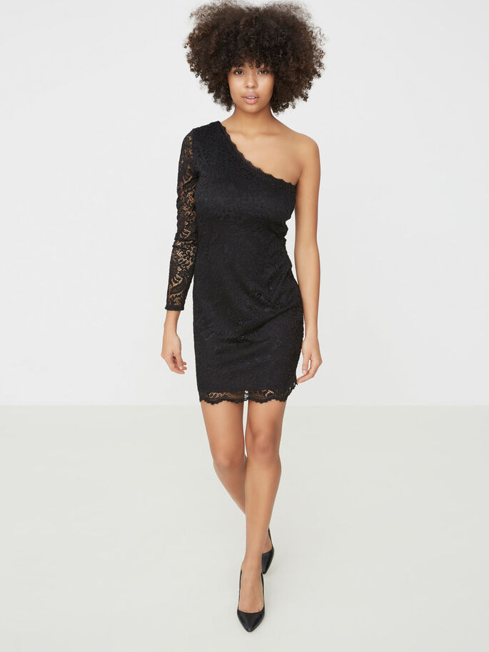 LACE OFF SHOULDER LONG SLEEVED DRESS, Black, large