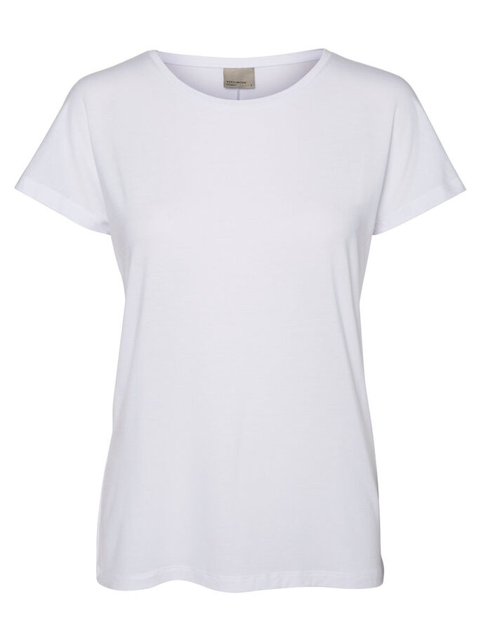CASUAL TOP MET KORTE MOUWEN, Bright White, large