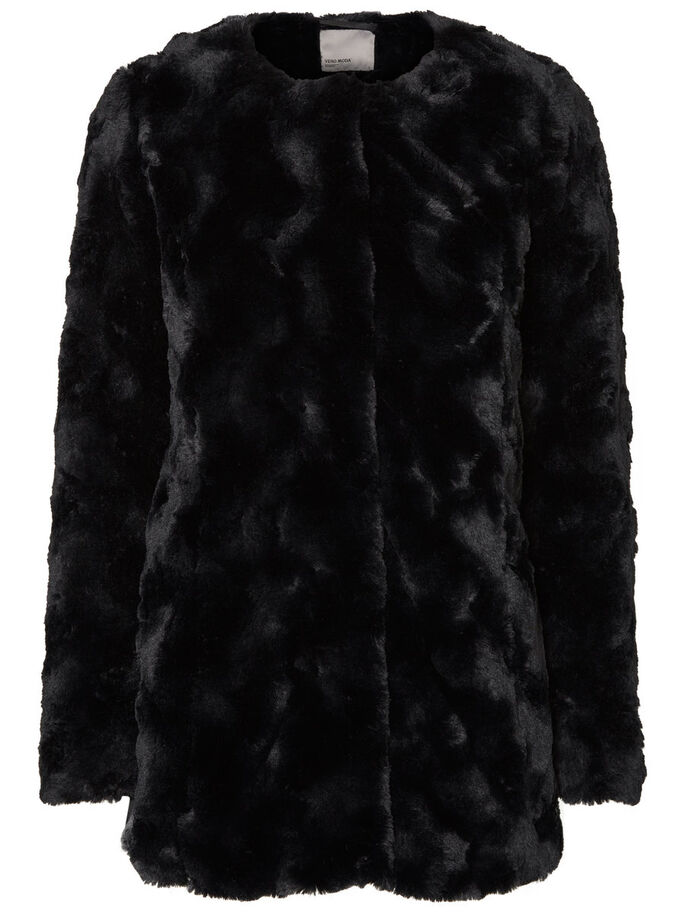 FAUX FUR JACKET, Black, large